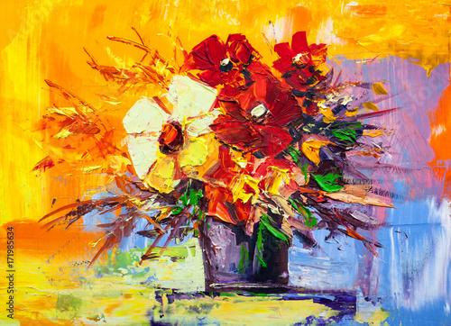 Obraz na Plexi Oil painting flowers
