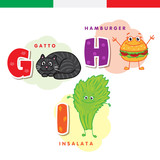 Italian alphabet. Cat, hamburger, lettuce. Vector letters and characters.