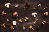 Fresh mixed forest mushrooms on the wooden background