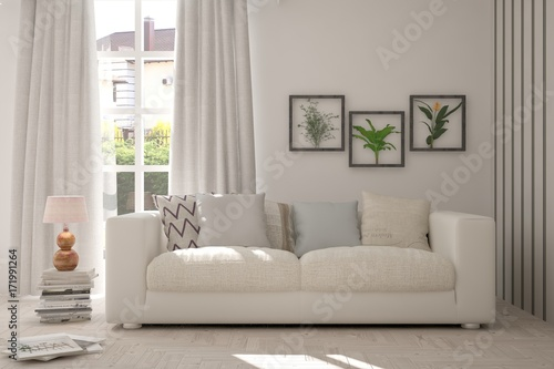 Poster Idea of white room with sofa and summer landscape in window. Scandinavian interior design. 3D illustration