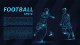 Football which consists of points. Particles in the form of a football player on dark background. Vector illustration. Graphic concept soccer - 172000481