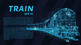The train which consists of points. Particles in the form of a train on a dark background. Vector illustration. Graphic concept of the railway business