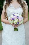 colourful wedding bouquet in bride's hands white background - 172001818