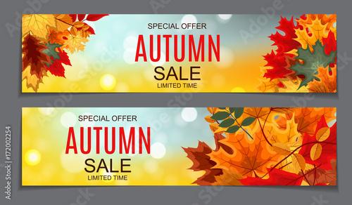 Błyszczący banery sprzedaży liści jesienią. Karta rabatowa firmy. Wektor