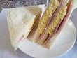 Delicious egg and ham sandwich