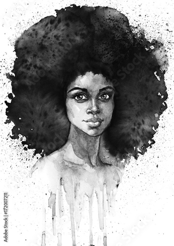 Watercolor fashion african woman portrait with splashes. Painting monochrome beauty illustration. Hand drawn sexy - 172007211