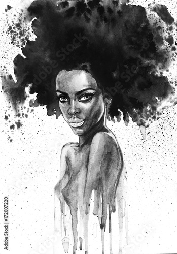 Fototapeta samoprzylepna Painting fashion african woman portrait with splashes. Watercolor monochrome beauty illustration. Hand drawn young girl