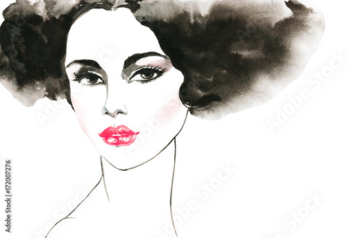 Watercolor fashion woman portrait. Hand drawn black and white young girl with pink lips. Painting beauty illustration - 172007276