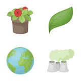 A processing plant, flowers in a pot, a green leaf, a planet Earth.Bio and ecology set collection icons in cartoon style vector symbol stock illustration web.