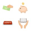 Hand with money for poshestvovaniya, a piggy bank for charity, a button with an inscription, a book for the blind in their hands. Charity and donation set collection icons in cartoon style vector