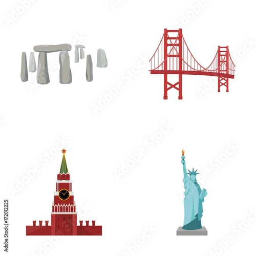Fridge magnet Building, landmark, bridge, stone .Countries country set collection icons in cartoon style vector symbol stock illustration web.