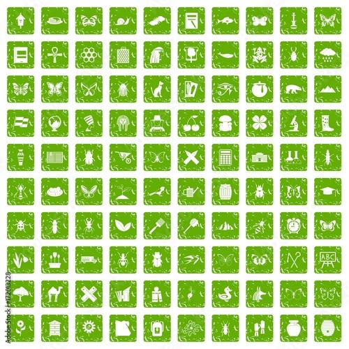 Foto op Plexiglas Vlinders in Grunge 100 insects icons set grunge green