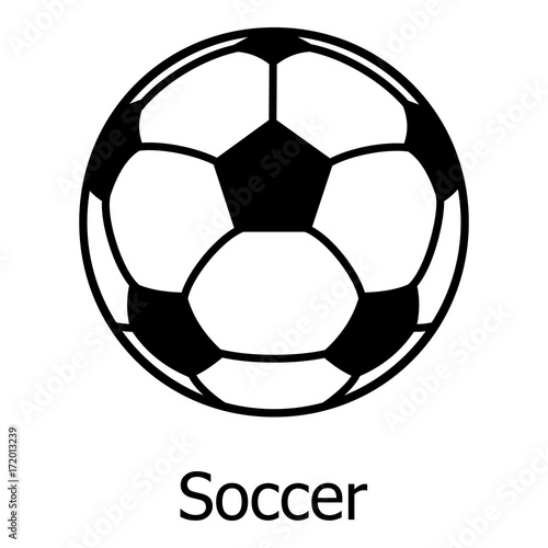 Staande foto Bol Soccer ball icon, simple black style