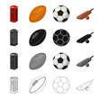 roleta: Red telephone booth, rugby ball and football, English cricket game. England set collection icons in cartoon black monochrome outline style vector symbol stock illustration web.