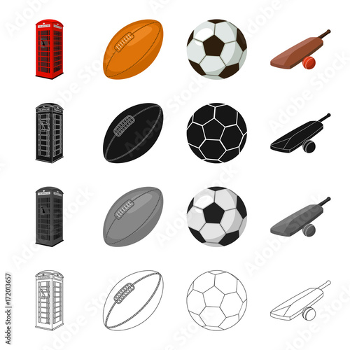 Red telephone booth, rugby ball and football, English cricket game. England set collection icons in cartoon black monochrome outline style vector symbol stock illustration web.