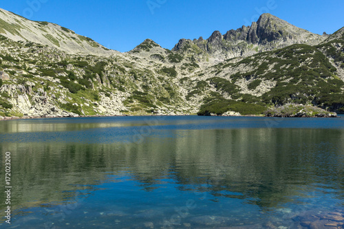 Deurstickers Groen blauw Amazing Panorama with Big Valyavishko Lake and Dzhangal peak, Pirin Mountain, Bulgaria