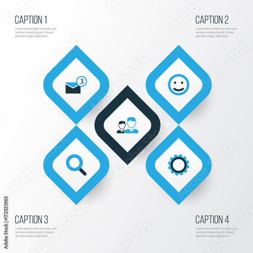 Social Colorful Icons Set. Collection Of Smile, Friends, Notification And Other Elements. Also Includes Symbols Such As People, Emoji, Cogwheel.