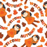 Seamless pattern of cute girls and mapple leaves vector cartoon illustration for Autumn season wrapping paper, fabric clothes, and wallpaper