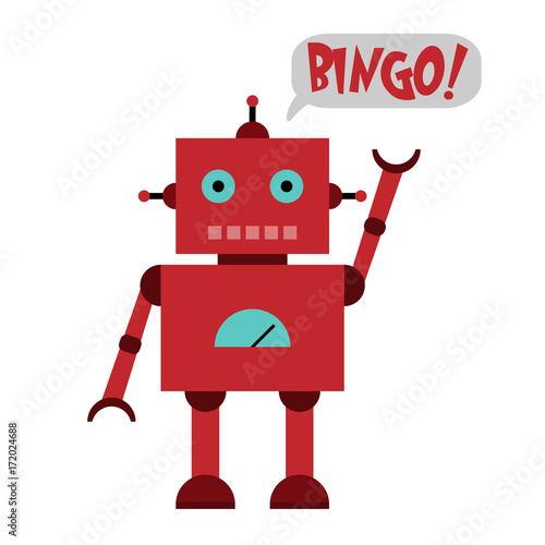 Vector illustration of a toy Robot and text BINGO!