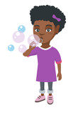 Little african-american girl blowing soap bubbles. Girl making soap bubbles. Girl playing with soap bubbles. Vector sketch cartoon illustration isolated on white background.
