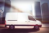 Fast van on a city road . 3D Rendering