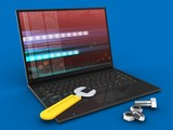 3d laptop computer and wrench and nuts - 172032462