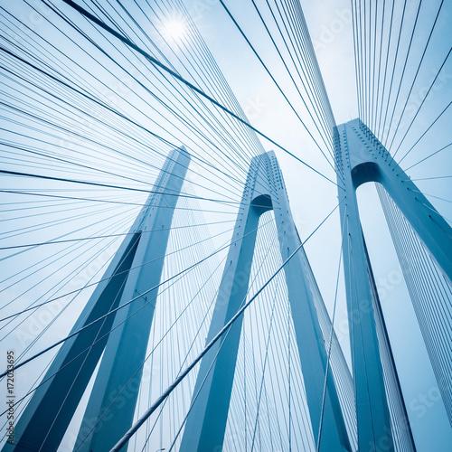 cable-stayed bridge closeup