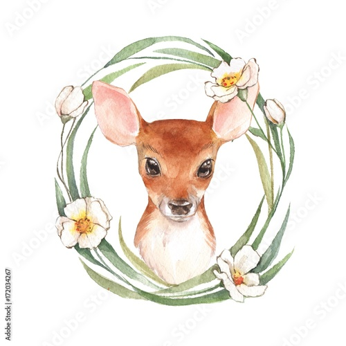 Baby Deer and flowers. Hand drawn cute fawn. Watercolor illustration 3 - 172034267