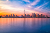 Toronto downtown skyline with sunset