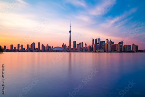 Aluminium Toronto Toronto downtown skyline with sunset