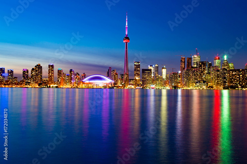 Toronto Downtown Skyline with lights reflection Poster