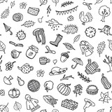 autumn fall thanksgiving cute black and white doodle seamless pattern