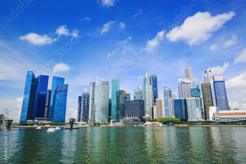 central business district building of Singapore city with blue sky Poster