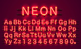 Neon city color red font. English alphabet and numbers sign. Vector illustration - 172039409