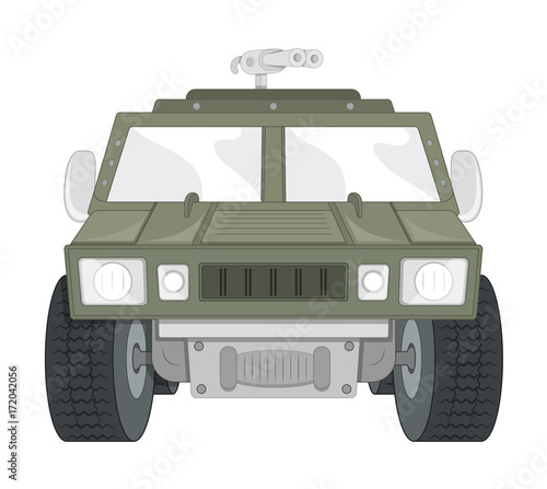 Fotobehang Auto large weapon army truck - Clip-art vector illustration