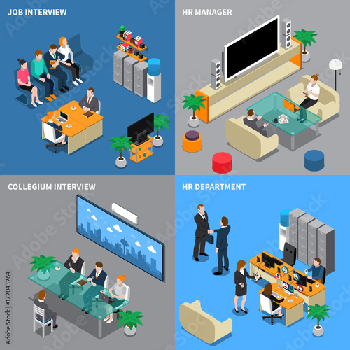 Wall mural Recruitment Hiring HR Management Isometric People