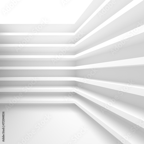 Sticker Futuristic Interior Background. White Abstract Living Room Concept. Minimalistic Graphic Design