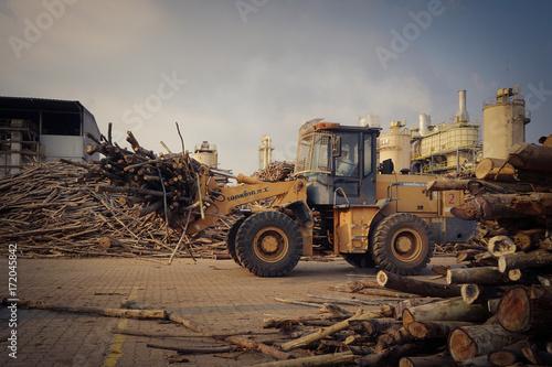 Grapple Loader transport wood logs materials Poster
