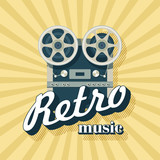Retro music. Vector illustration. Vintage reel to reel tape recorder. - 172046821