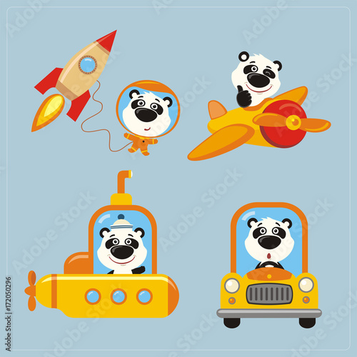 Collection of isolated Panda Bear in transport in cartoon style. Set of funny Panda Bear in various transport: airplane, submarine, car, space rocket.