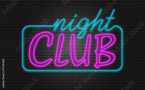 Night CLUB neon sign, bright signboard, light banner on stylish brick wall
