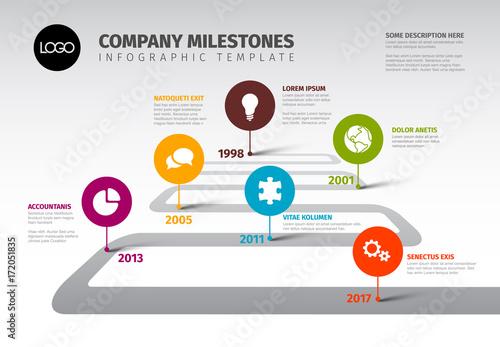 Vector Infographic Company Milestones Timeline Template - 172051835
