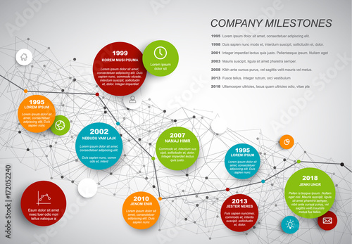 Poster Vector Infographic timeline report template