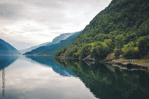 Deurstickers Groen blauw View to fjord and water from drone in Norway