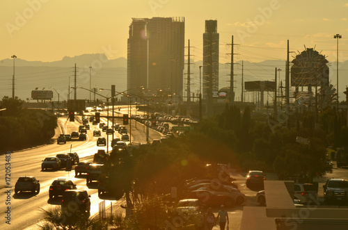 Plexiglas Las Vegas hot summer city traffic
