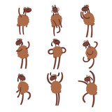 Funny cartoon sheep character set, brown sheep with different emotions colorful vector Illustrations