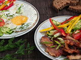 Fried meat with vegetables and eggs