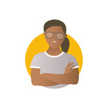 Proud, overproud black woman, flat gradient vector icon - 172056025