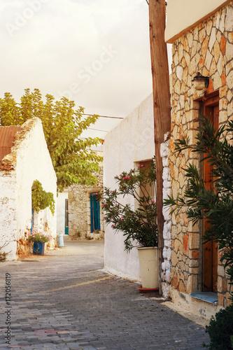 Old street in Analipsi, Crete island, Greece