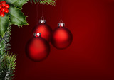Drei Rote Weihnachtskugeln